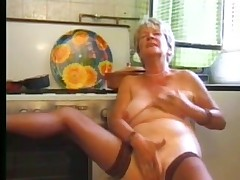 Granny masturbating in stocking part1