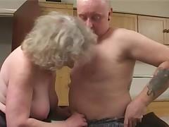 Granny in Black Stockings Fucks Old Guy