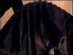 Pleated Miniskirt Blue Satin Thong