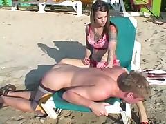 Femdom on beach