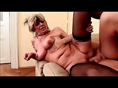 Saggy Breasts Milf Fucks on a sofa