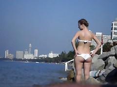 Flash cum on the beach