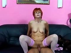 Granny in Pink Stockings Fucks