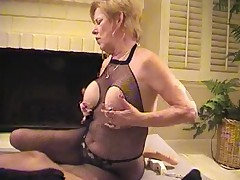 Granny in Fishnet Bodystocking Sucks and Fucks