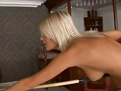 Glamorous Blonde Uses Feet To Play Billiards