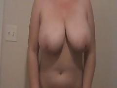 Big natural boobs Lateshay black mini skirt strip