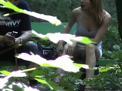 Voyeur 20 in the woods, no panties, only 4 Voyeurs (MrNo)