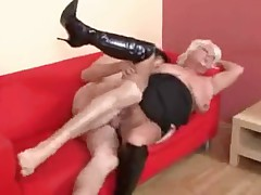 Hot Busty Blonde Granny Banging In Boots