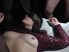 Mediocre slut is the cum dump for the unburden audience