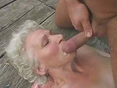Granny Norma Fucks increased by Sucks Outdoors