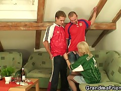 Old bitch has to get fucked by two men to pay off a bet