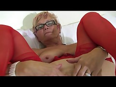 Granny in Glasses added to Red Lingerie added to Stockings Spreads