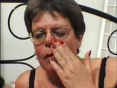 Granny concerning Lingerie with an increment of Glasses Fingers with an increment of Fucks
