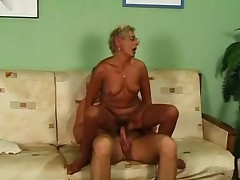 Blonde Granny in Stockings and Glasses Fucks