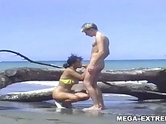 Swinger private couple has public sex outdoor on the beach
