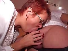 Pierced Mature in Glasses Fucks Fatty