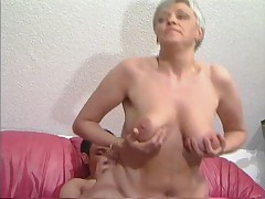 Grey Haired Granny in Stockings Fucks along to Boy