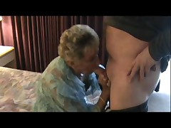 Granny in White Stockings Loves the Taste of Semen