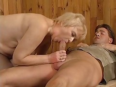 Chubby Granny in Laddered Stockings Sucks and Fucks