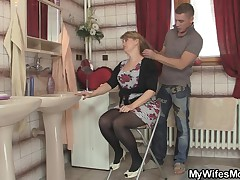 Mom rides son in law cock and his wife comes in