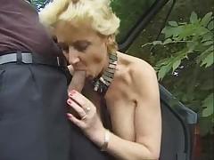 Busty blond granny