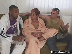 Lonely grandma gets pounded by two horny guys