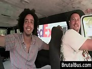 Dudes have fun in their bus