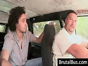 Dudes having fun in their bus