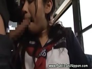 Asian schoolgirl rides cocks on bus ride