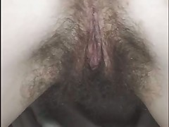 Hairy pussy in nylons gets fucked and cummed on