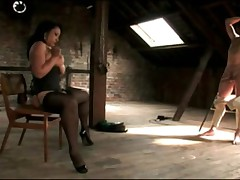 Hot Mistress Gives Handjob To Tied Up Slave