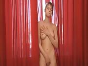 Striptease and teasing of busty teenie