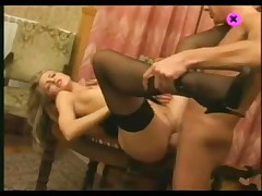Blonde in stockings accepts his meat