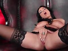 Passionate brunette in hot black lingerie
