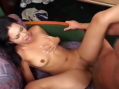Petite slut coveredin cum after gangbang