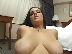 Curvy brunette titjob and cum on her face
