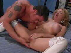 White leather boots girl fucked in the ass