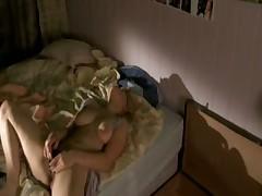 Blonde vigorously fingers her hairy minge