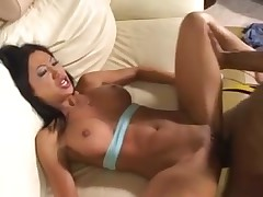 Great fake titties on Asian taking black cock