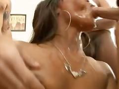 Black girl gobbling cock in blowbang