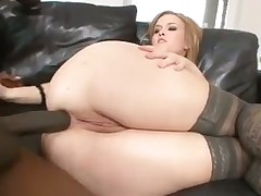 Big black cock nails curvy white girl in stockings