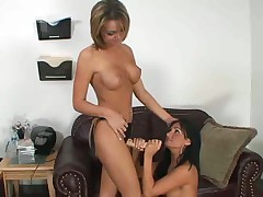 Lesbian fucks girlfriend with strapon