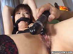 Tied Up Babe Gets Dildo Fucked