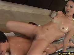 Evelyn Lin - Nuru Asian Massage On The Air Mattress Leads To A Massive Cumshot In Mouth