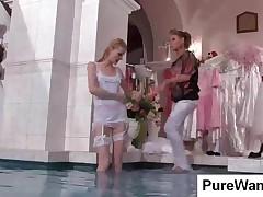 Skinny Blonde Bride Gets Punished In Pool