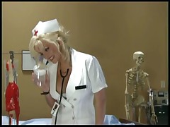 Naughty Nurse In Uniform Gives A Blowjob And Handjob