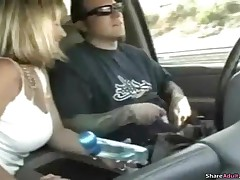 This Blond Vixen Gives Her Boyfriend A Great Handjob In His Car