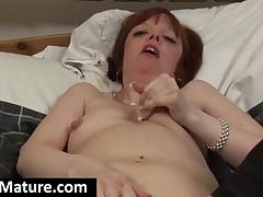 Stockinged Mature Bitch Screwing A Large Dildo