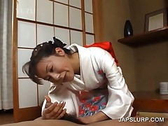 Sweet Japanese In Geisha Suit Giving A Hand Job