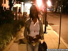 Black Tranny Shows Tits For The Camera